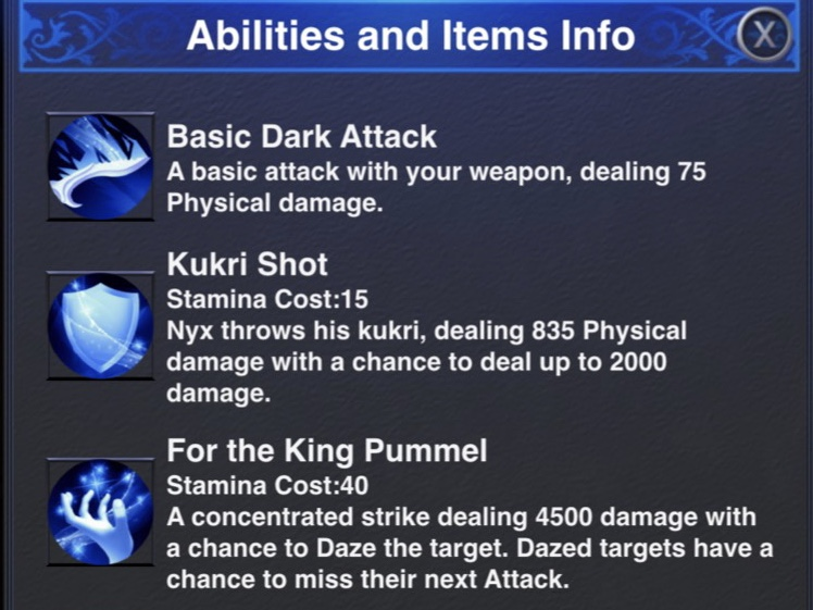 Nyx Dungeon Abilities