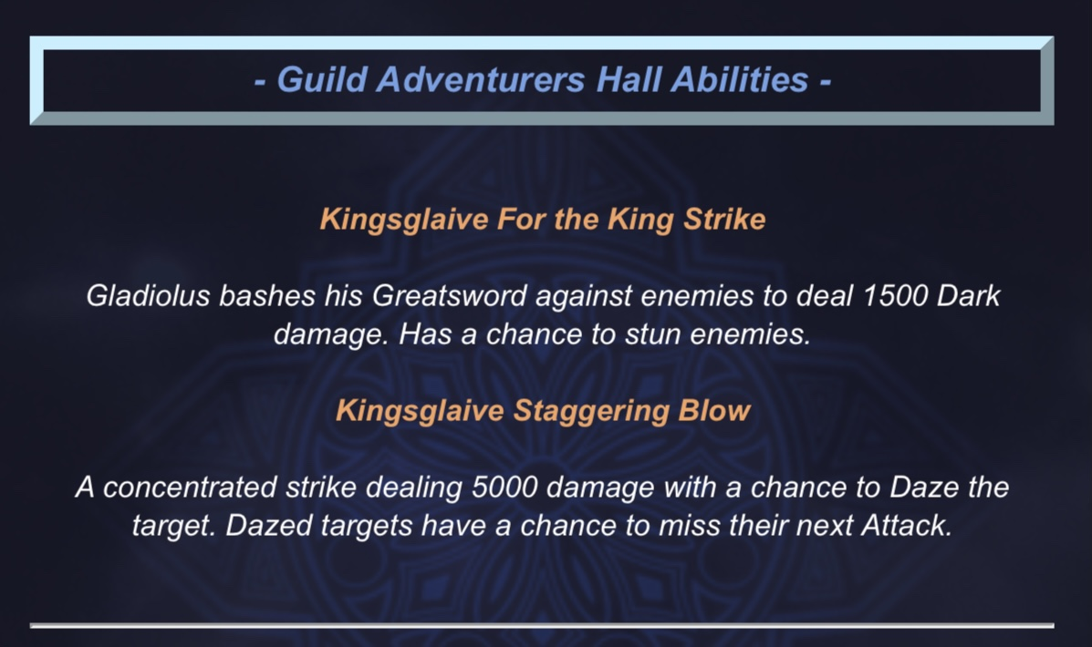 Gladio Dungeon Abilities